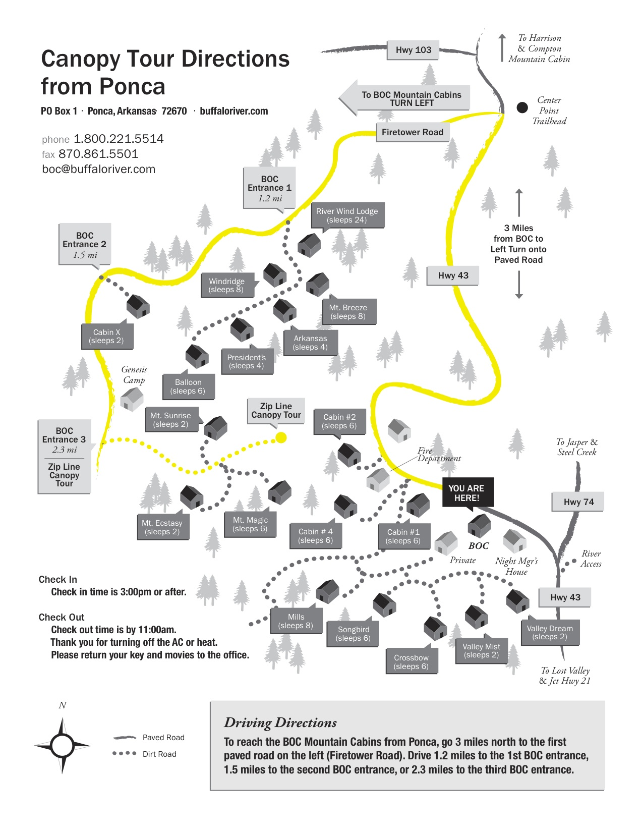 Road Map to Zip Line from Ponca