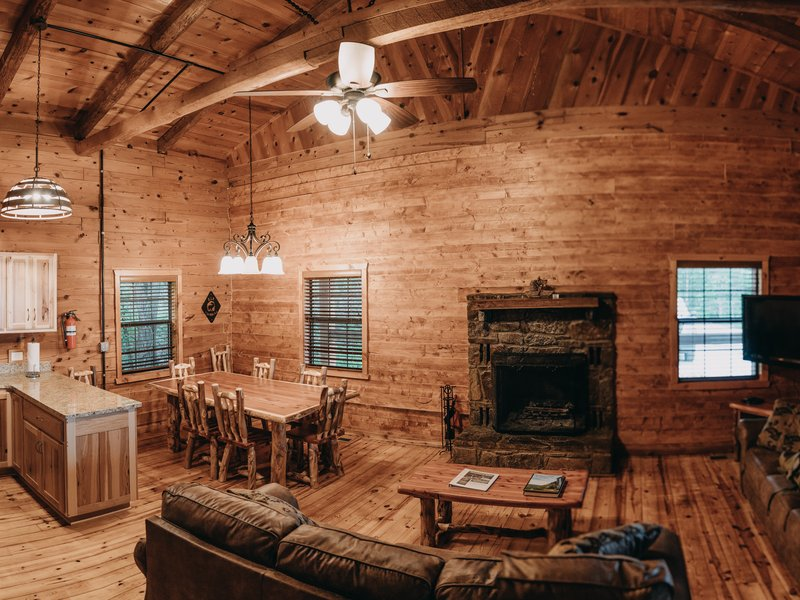 The cabin features a beautiful fireplace