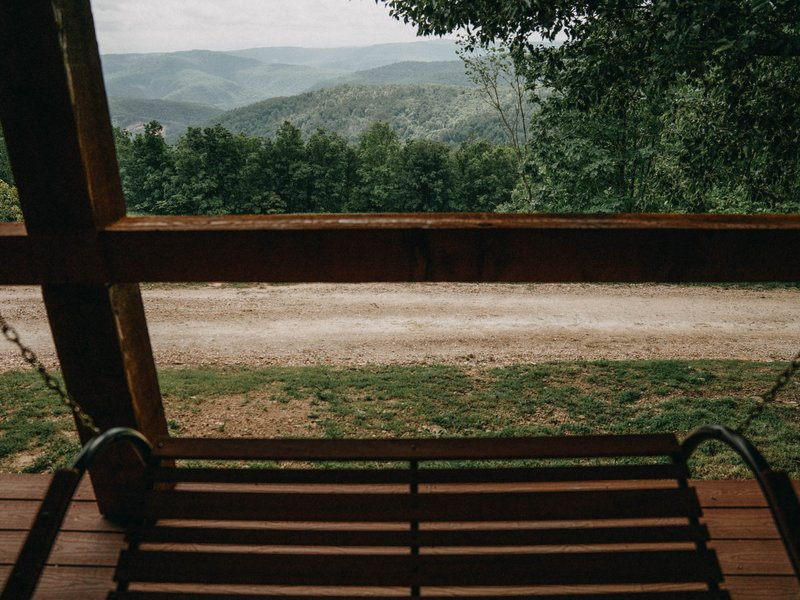 The spectacular view from the cabins porch swing.