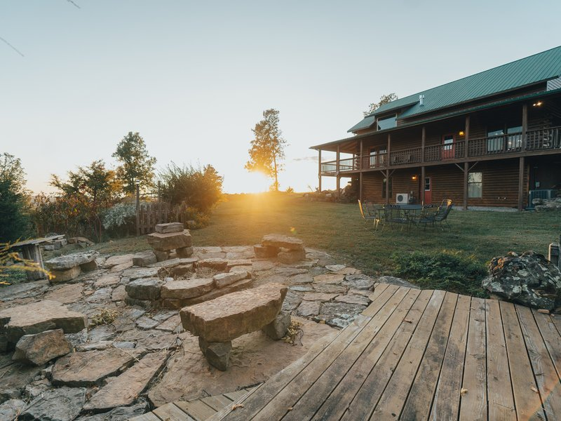The Big Sky Cabin's fire pit area