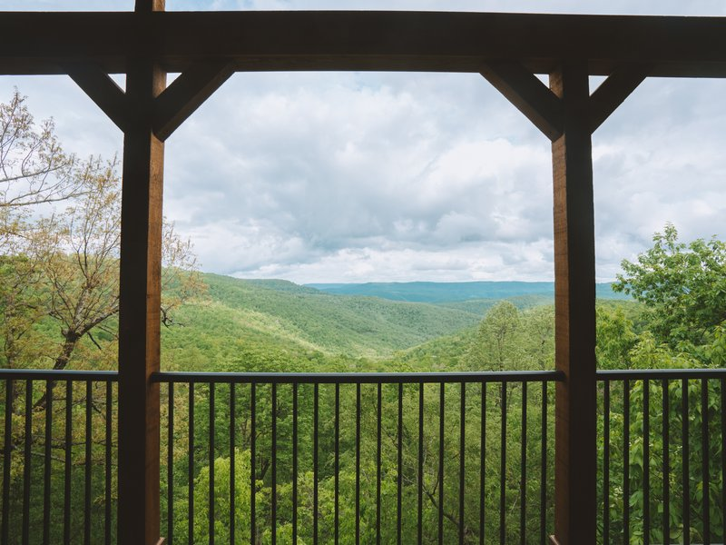 The Morning Glory Cabin's beautiful view over Buffalo River country.