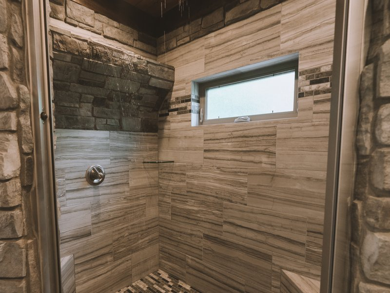 The Morning Glory Cabin's waterfall shower.