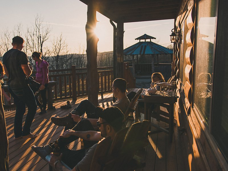 The deck of the lodge is a great place to chill with friends!