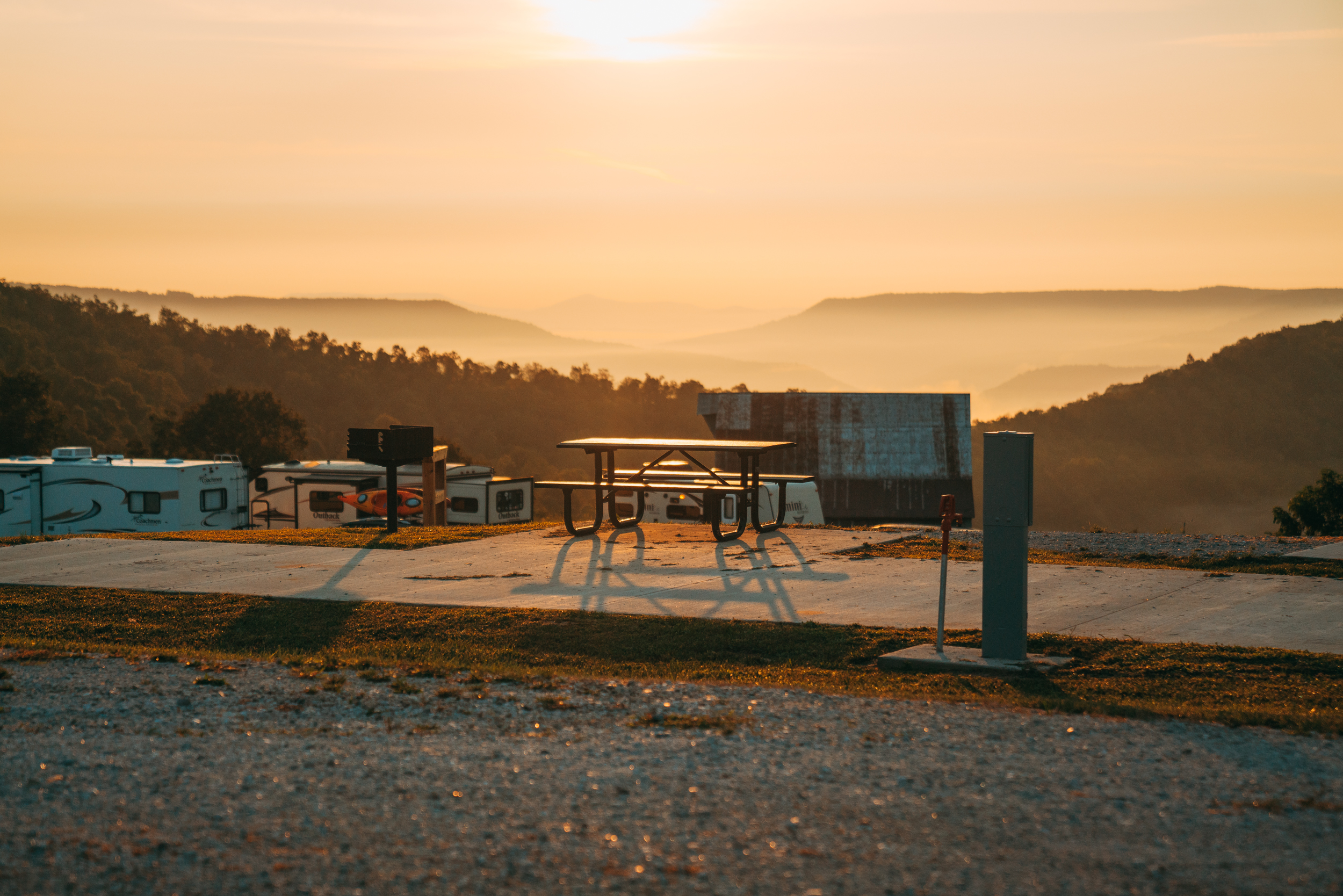 Seating area in the RV park overlooking Ozark Mountains