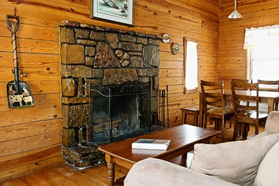 The pretty, cozy fireplace in Cabin 4