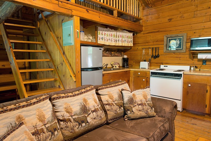 The cabin's kitchen is fully furnished with everything you need to prepare meals.
