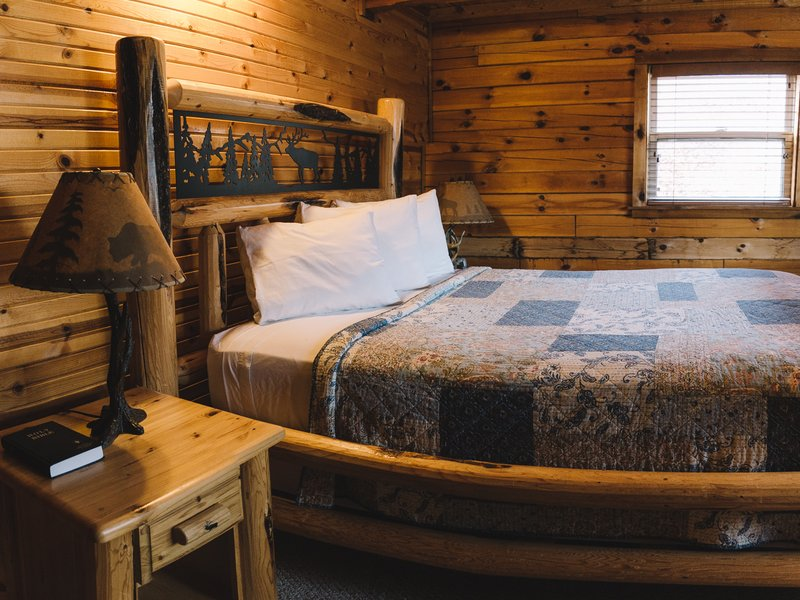 One of the cabin's spacious private bedrooms.