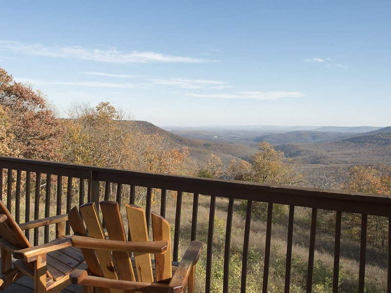 The Compton Mountain Cabin's giant view into the Erbie area of the Buffalo River.
