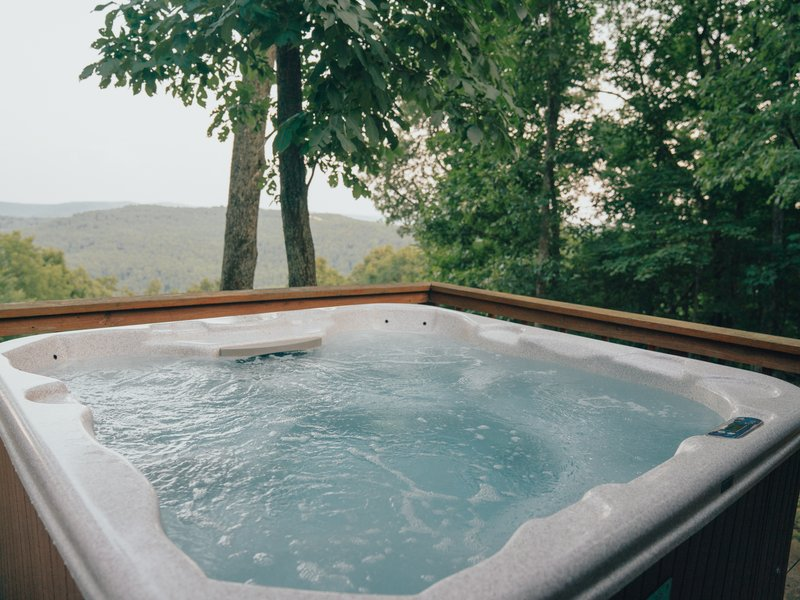 Mountain views from the Mountain Magic Cabin hot tub.