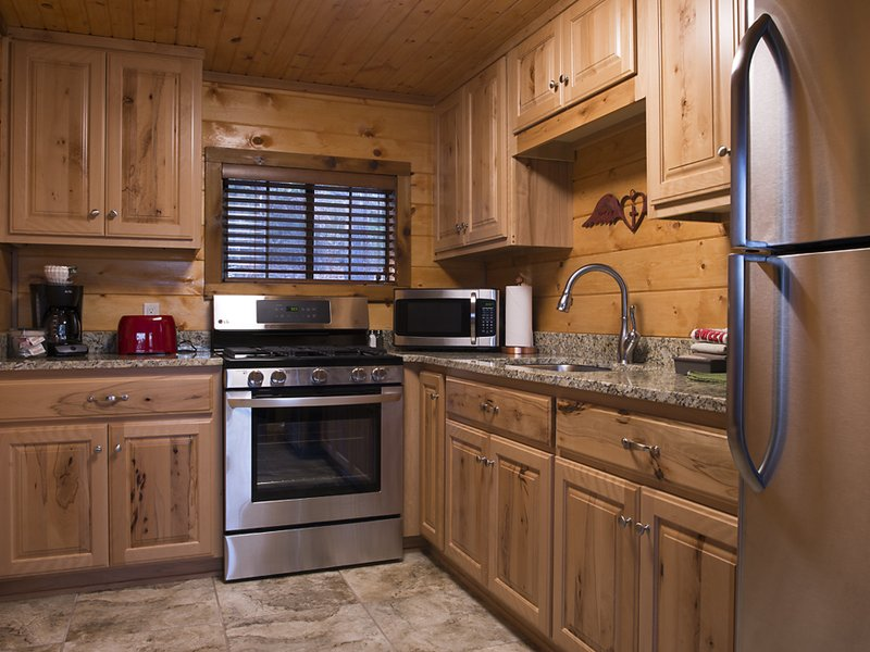 The cabin's fully-furnished kitchen