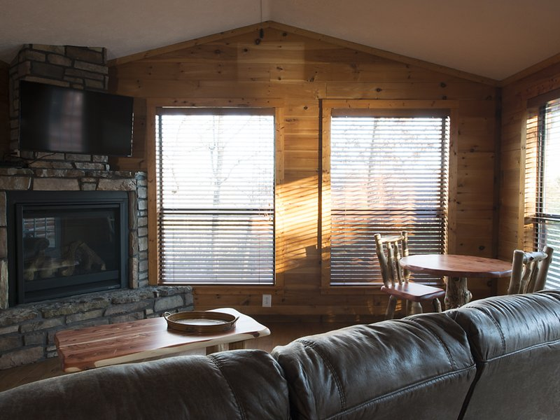 Another view of the cabin's living / dining area