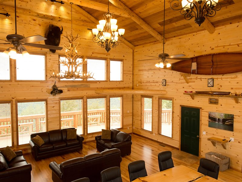 The lodge's great room offers spacious comfort and a 30-mile view of upper Buffalo River country.