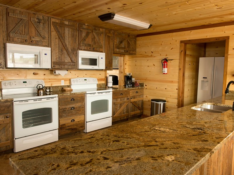 The kitchen in the lodge offers double appliances, plus, plenty of counter and cabinet space.