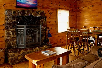 The fireplace in the Mountain Magic Cabin