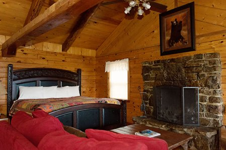 Another view of the cabin's king-size bed from the living area