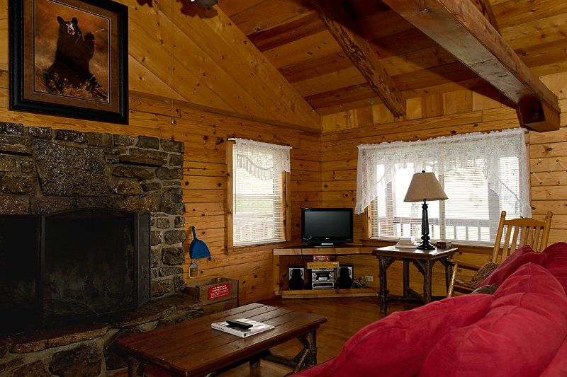 The fireplace and living area of the Mountain Ecstasy cabin