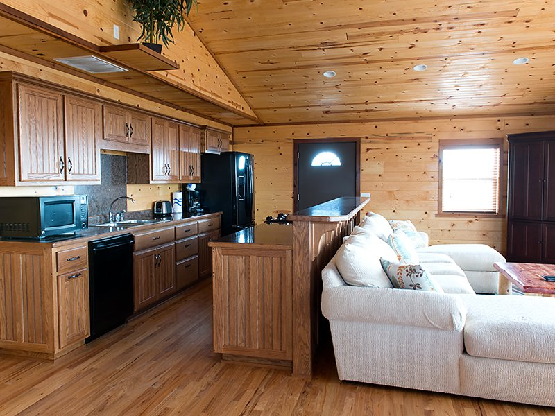 The cabin's spacious kitchen and living area.
