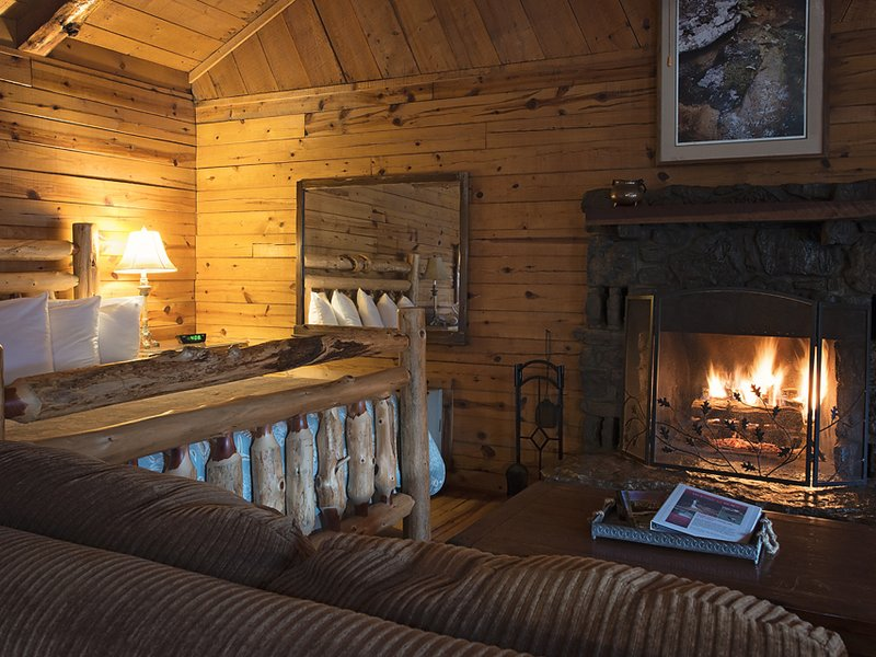A closer view of the cabin's cozy fireplace area.